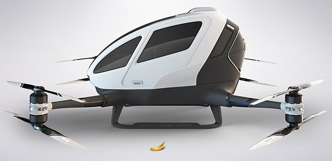 Ehang 184 banana for scale